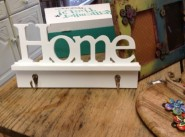 White Wood 'Home' Double Coat Hook (Gisela Graham)